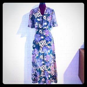 70s Maxi Dress Coverlet Spaghetti Strap Dress S